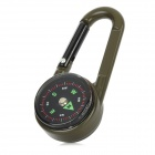 Outdoor Mini Carabiner Style Compass w/ Thermometer - Army Green + Black