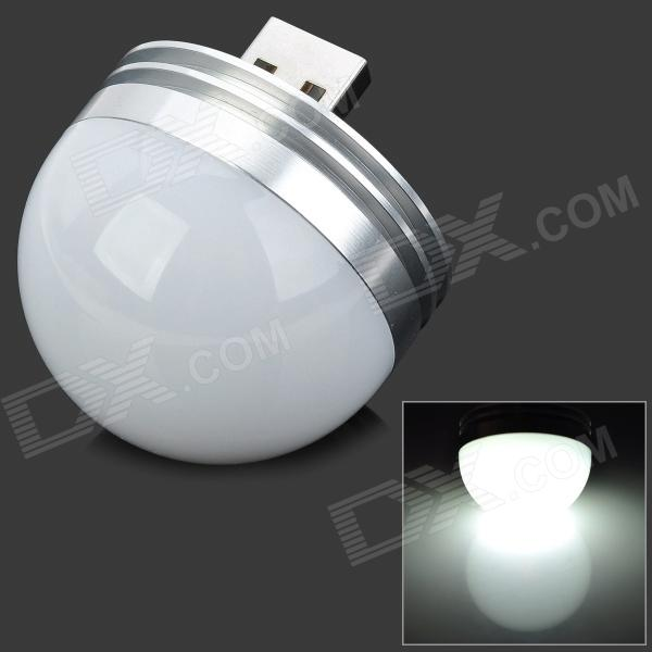 Highlight USB Power 1W 180lm 6500K 1-LED White Light Night Lamp - Silver + White