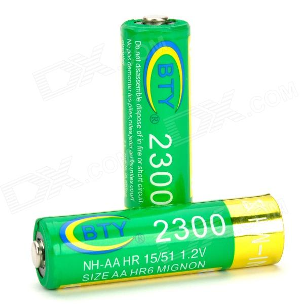 BTY Replacement 1.2V 2300mAh Rechargeable NiMH AA Battery - Green + Golden (2 PCS) аккумулятор aa beston 1300 mah nimh 2 штуки