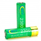 BTY Replacement 1.2V 2300mAh Rechargeable NiMH AA Battery - Green + Golden (2 PCS)
