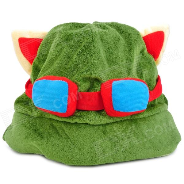 Teemo Pattern Cosplay Plush + PP Cotton Hat / Cap - Green + Red + Blue