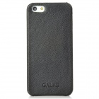 GALAS Protective Genuine Leather Back Case for Iphone 5 - Black + Deep Pink