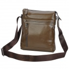 SAMMONS 190098-24 Cow Leather + Fabric Cloth Messenger Bag w/ Shoulder Strap for Men - Dark Brown