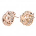 KCCHSTAR BK-828 Bowl Style 18K Alloy + Artificial Diamond Stud Earrings for Women - Golden (Pair)