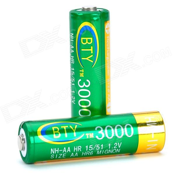 BTY Rechargeable 3000mAh Ni-MH AA Battery for Radio / Recorder / Headset - Green + Golden (2 PCS)