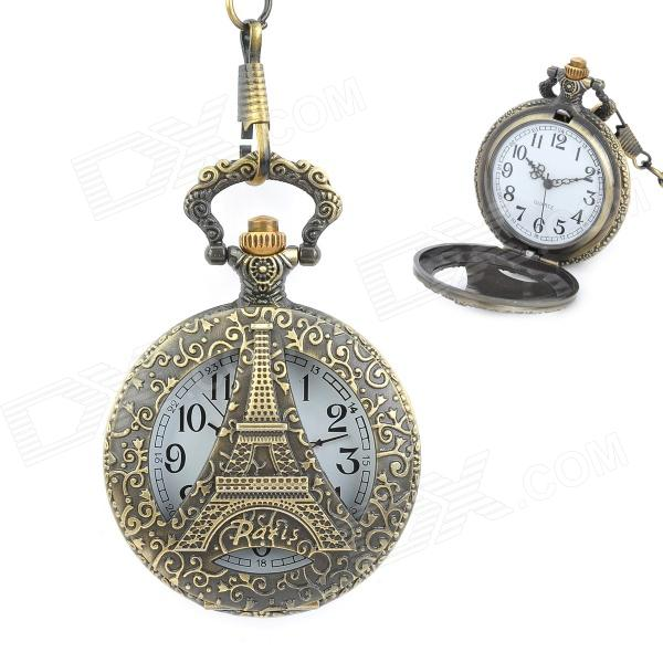 Eiffel Tower Pattern Retro Acrylic Dial Quartz Analog Pocket Watch w/ Chain - Bronze + White european and american movies aladdin and the magic lamp quartz pocket watch do the old flip quartz watch chain table ds274