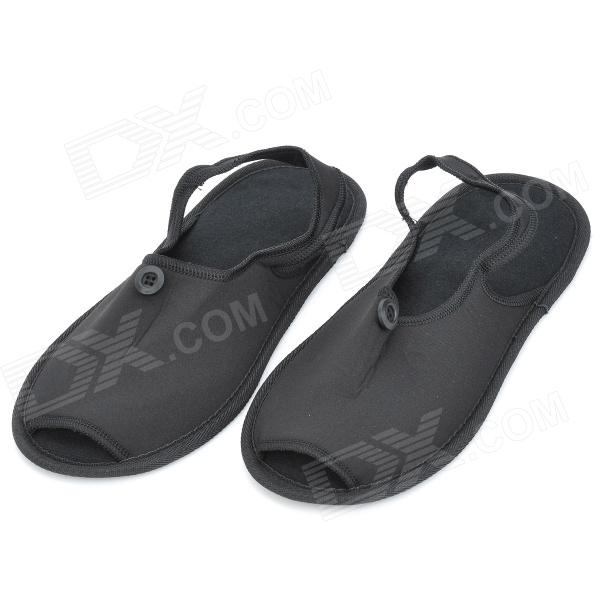 Travelicons Outdoor Travel Portable Foldable Slippers - Black (Pair)