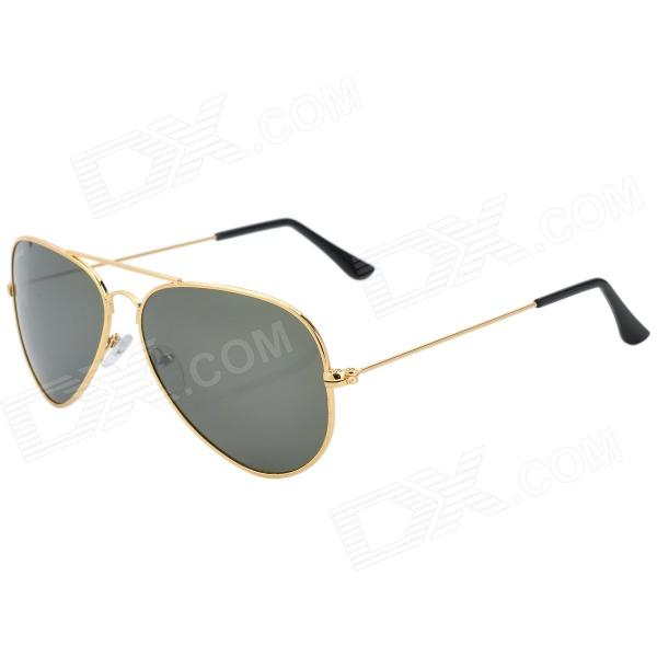 Kashiluo 3025 Fashion Sport UV400 Protection Aviator Sunglasses - Golden + Dark Green fashion sunglasses with colorful frame 100% proof uv protection square eyeglass unisex