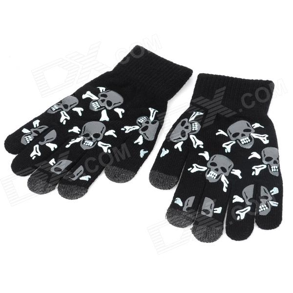Skull Shape Fiber Three Finger Capacitive Screen Touch Hand Warmer Gloves - Black (Pair / Size M)