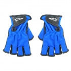 Hainuo Anti-Flip Half Finger Fishing Glove - Blue + Black
