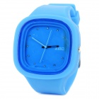 Zgo Sport Water Resistant Square Resin Dial Silicone Casing Band Quartz Analog Wrist Watch - Blue