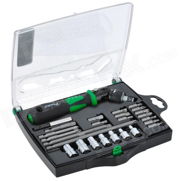 Pro'skit SD-2314M 25-in-1 Reversible Ratchet Screwdriver With Bits & Sockets Set 33 in 1 mutifunction screwdriver set t type ratchet screw driver fast batch head chrome vanadium steel practical screwdrivers