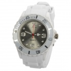 Sport Waterproof Rotatable Acrylic Dial Silicone Band Quartz Analog Wrist Watch - White + Silver
