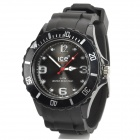 Sport Waterproof Rotatable Acrylic Dial Silicone Band Quartz Analog Wrist Watch - Black + Silver