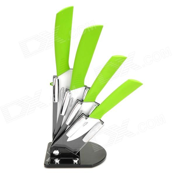 Victory CKSA3456PB 3 4 5 6  Kitchen Ceramic Knives w/ Peeler + Holder - Green + White (6 PCS) bestlead 4 ceramics knife 6 5 kitchen knife peeler board holder set white yellow