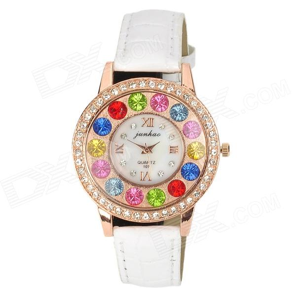 Women Colorful Rhinestones Tempered Glass Dial PU Band Quartz Analog Wrist Watch - White + Rose Gold