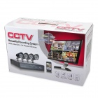 8-CH H.264 Surveillance Network CCTV DVR w/ 4 x 600 TVL 36- IR LED Cameras Security System - Black