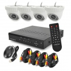 KIT-DM4600H 4-CH D1 Real-Time Network CCTV DVR Security System w/ 4 x IR Cameras - Black (PAL)