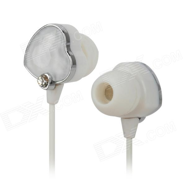 Heart Style Wired 3.5mm Jack In-Ear Rhinestone MP3 / MP4 Earphones - White (145cm)