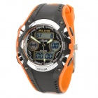 AR9132 Casual Ellipse Mineral Dial Plastic Casing Digital Analog Wrist Watch - Black + Orange