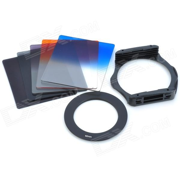 SZSYDZ201302 8-in-1 Graduated + ND4 + ND8 Square Filters + 62mm Ring + Mount - Black zomei 6in1 filter kit 67mm ring holder 150x100mm gradual nd4 full nd2 nd4 nd8 neutral density square nd filter for cokin z