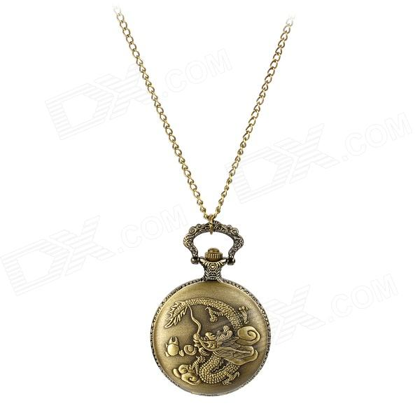 TS-106 Dragon Pattern Round Resin Glass Dial Stainless Steel Quartz Analog Pocket Watch - Bronze