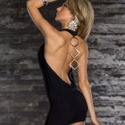 2706 Sexy Deep V Neck Backless Sleeveless Dress for Women - Black (Size L)