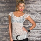 Sexy Visible Lace Front Tops - White (Size M)