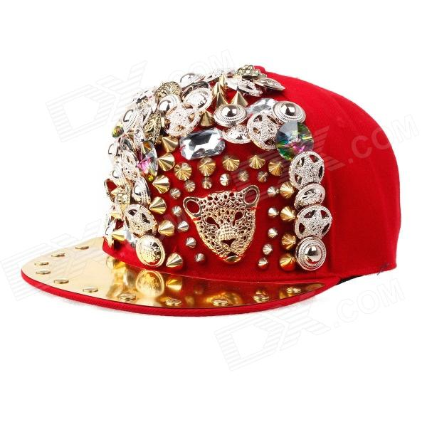 Trendy Hip-Hop Style Leopard Head Rivets Baseball Hat/Cap - Red + Gold trendy cotton fedora hat cap black