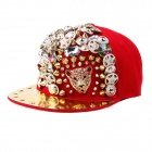 Trendy Hip-Hop Style Leopard Head Rivets Baseball Hat/Cap - Red + Gold