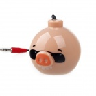 Cute Pig Style Portable Plastic Mini Speaker for iPhone 4S - Beige