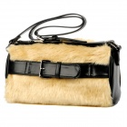 JUST STAR 170551-21 Women Simulation Rabbit Hair + PU Handbag / Shoulder Bag - Light Apricot + Black