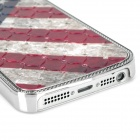 Retro US National Flag Relief Style Protective Crystal PC Case for Iphone 5 - Blue + Red