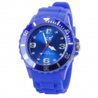 Sport Waterproof Rotatable Acrylic Dial Silicone Band Quartz Analog Wrist Watch - Blue + Silver