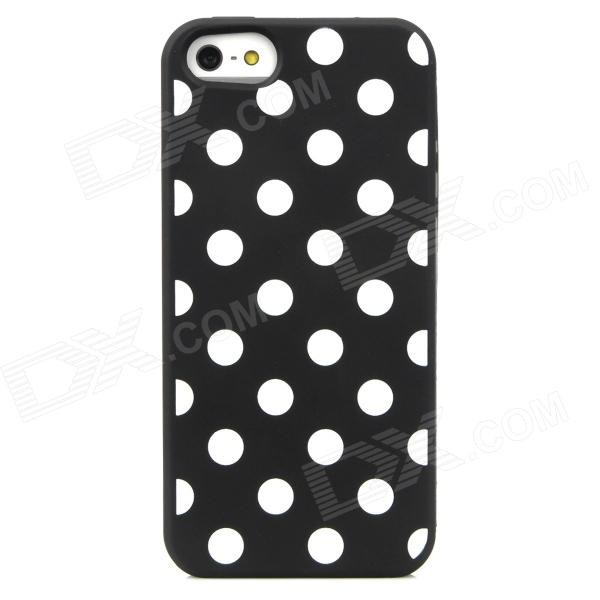 Polka Dot Style Protective Silicone Back Case for Iphone 5 - Black + White cute marshmallow style silicone back case for iphone 5 5s yellow white