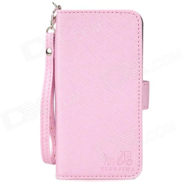 Stylish Protective PU Leather Case w/ Hand Strap for iPhone 5 - Pink