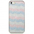 Protective Wave Pattern Shining Back Case for iPhone 5 - Pink + Blue + Silver