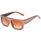 SENLAN 6223 Retro UV400 Protection Acetate + PU Frame PC Lens Sunglasses - Brown + Bright Gold