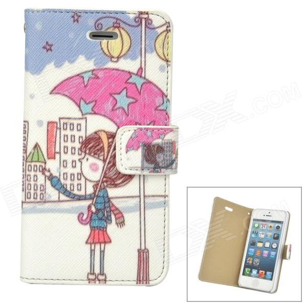 Girl with Umbrella Pattern Protective PU Leather Case for Iphone 5 - White + Blue + Deep Pink cute girl pattern protective rhinestone decoration back case for iphone 5 light pink light blue