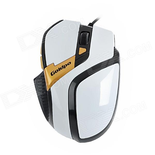 904 USB Wired Optical 800 / 1200 / 1600 / 2400dpi Mouse - Black + White + Yellow
