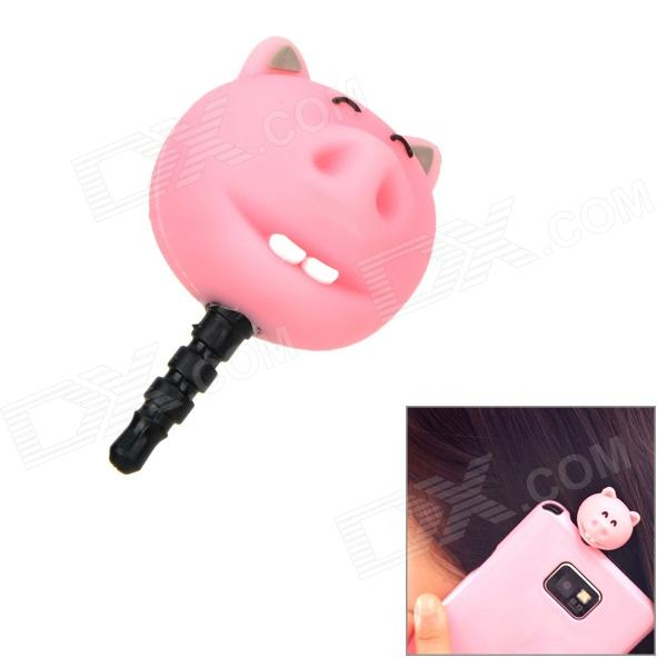 Funny Cartoon Pig Style Audio Earphone Jack Anti-Dust Plug for Iphone 4 / 4S / Ipad - Pink + Black