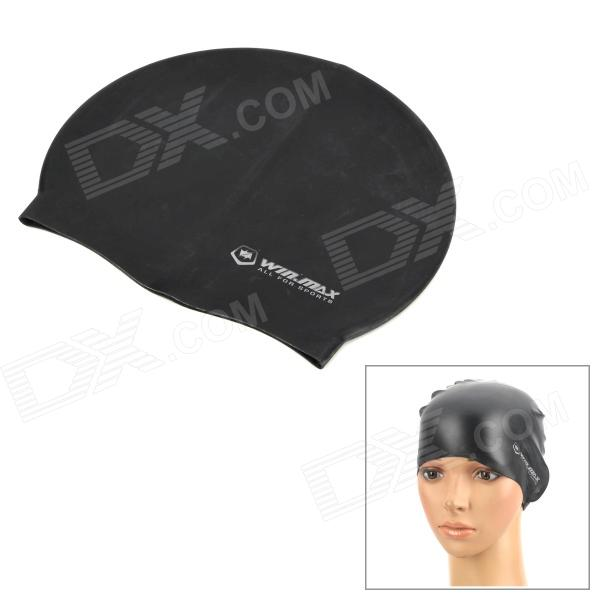 Weimasi WMB07200 Elasticity Silicone Swim Cap - Black + White win max wmb07200 stylish silicone swimming cap white