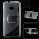 Stylish Protective Plastic Back Case w/ Stand for HTC One - Translucent White