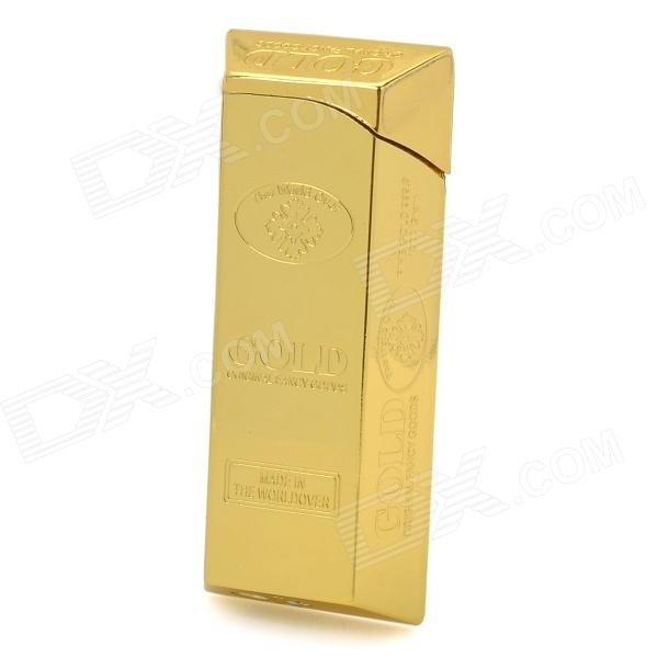 Z-01 Gold Bar Style Aluminum Alloy Butane Flame Lighter - Golden