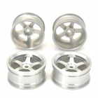 52mm Aluminum Alloy 5-Spoke Wheel Hub for 1:10 R/C On-Road Flat Run Car - Silver (4 PCS)