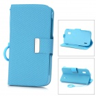 KALAIDENG Protective PU Leather Case w/ O Ring Hand Strap for Google Nexus 4 LG E960 - Blue