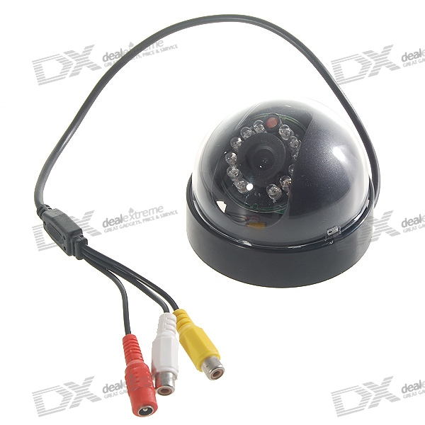 Dome CMOS Color Surveillance Security Camera with 12-IR LED Night-Vision - NTSC (12V DC) 1 3 mp cmos cctv ahd camera ahd m 960p 2500tvl security surveillance mini dome camera with ir cut filter night vision 1080p lens