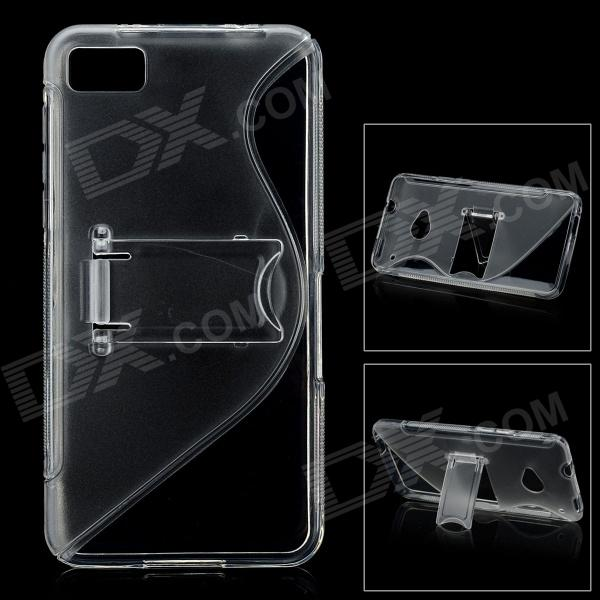 S Style Protective Plastic Back Case w/ Stand for BlackBerry Z10 - Translucent White protective silicone case for nds lite translucent white