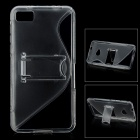 """S"" Style Protective Plastic Back Case w/ Stand for BlackBerry Z10 - Translucent White"