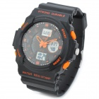Skmei 0955 Sport Mineral Dial Plastic Band Electronic Digital + Analog Wrist Watch - Black + Orange